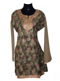 Green Printed Long Kurti With Full Sleeve - (SARA-012)