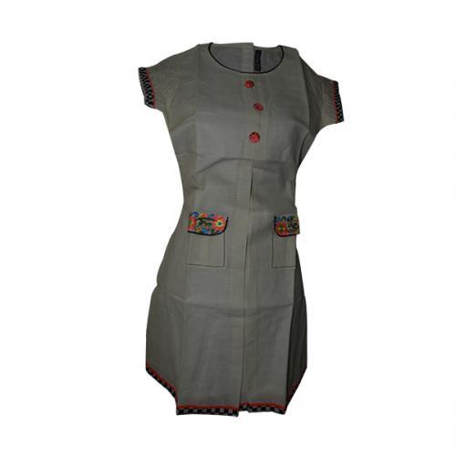 Grey Color Half Sleeve Kurti With Pockets - (SARA-022)