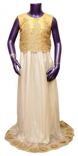 Cream Color Long Dress For Girl - (JU-043)