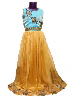 Kids Embroidered Long Frock - (JU-006)