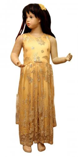 Cream Color Long Dress For Girls - (JU-040)