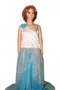 White & Blue Long Dress For Girls - (Ju-052)