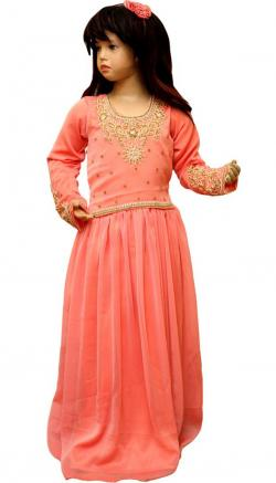 Peach Color Long Dress For Girls - (JU-057)