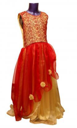 Red & Yellow Long Dress For Girls - (JU-059)
