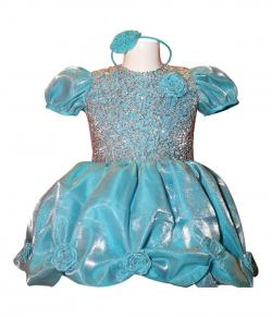 Light Blue Color Short Frock Style Baby Dress - (JU-060)
