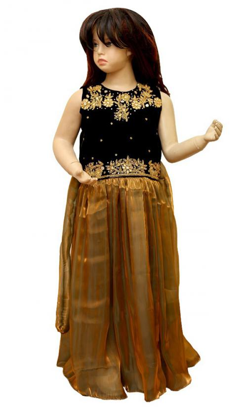 Black Embroidered Frock for Kids - (JU-014)