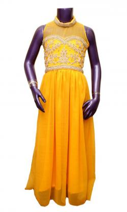 Yellow Party Wear Frock For Kids - (JU-007)