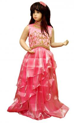 Sweet Pink Gorgette Frock For Kids - (JU-001)