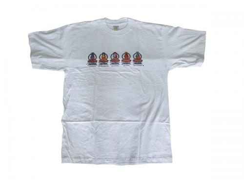 White T-Shirts (Panche Buddha) - 100% Cotton