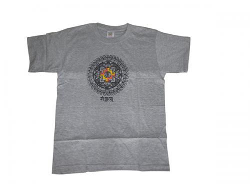 Grey T-Shirts (Mandala) - 100% cotton