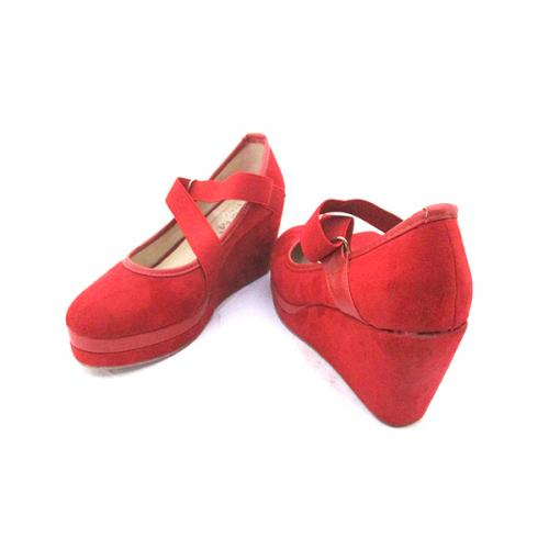 Red Fashionable Round Toe Wedge Heel Sandals For Ladies - (MS-043)