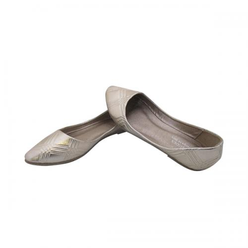 Stylish Silver Almond Toe Close Shoes For Ladies - (MS-035)