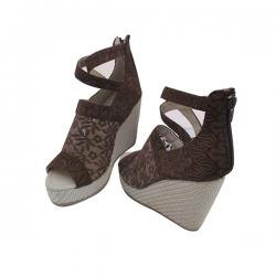 Fabulous Brown Net Wedge Heel With Zip For Ladies - (MS-041)