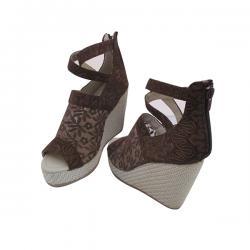 Fabulous Brown Net Wedge Heel With Zip For Ladies - (MS-041)