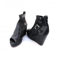 Fabulous Black Net Wedge Heel With Zip For Ladies - (MS-040)