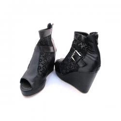 Fabulous Black Net Wedge Heel With Zip For Ladies - (MS-040)