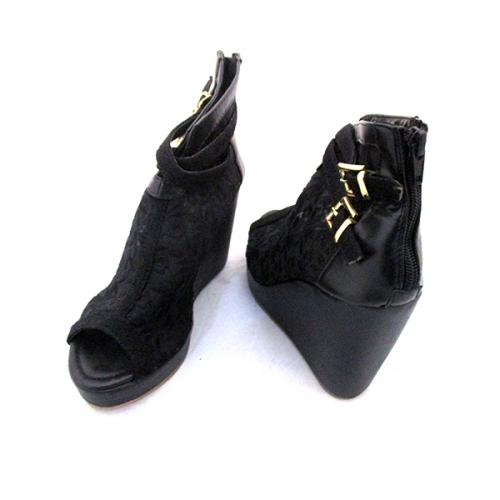 Black Net Wedge Heel With Zip For Ladies - (MS-038)