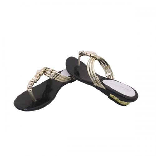 Shiny Black With Golden Strap Slipper - (MS-037)