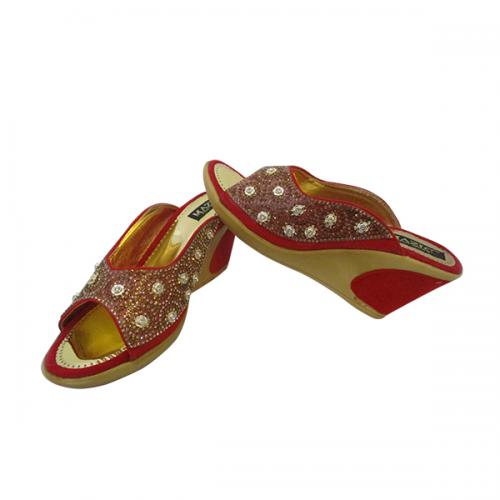 Golden & Red PU Wedge Heel Party Wear Sandal-(MS-005)