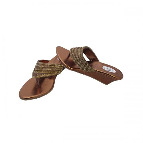 Light Brown PU Wedge Heel Party Wear Sandal - (MS-004)