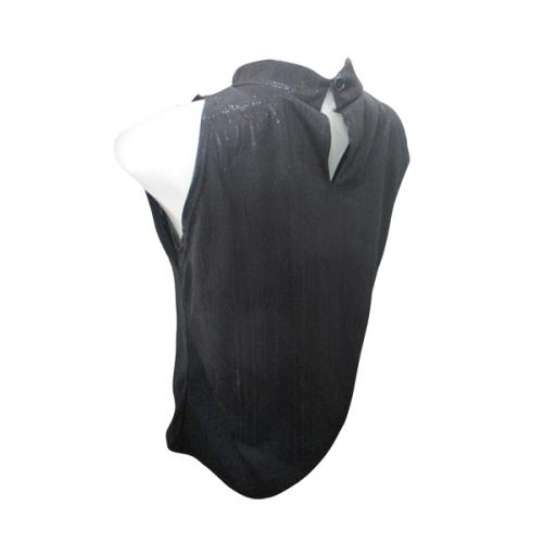 Black Shiny Sleeveless T-Shirt - (EL-007)