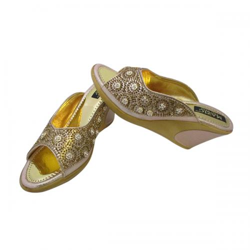 PU Wedge Heel Party Wear Sandal in Golden Color -(MS-002)