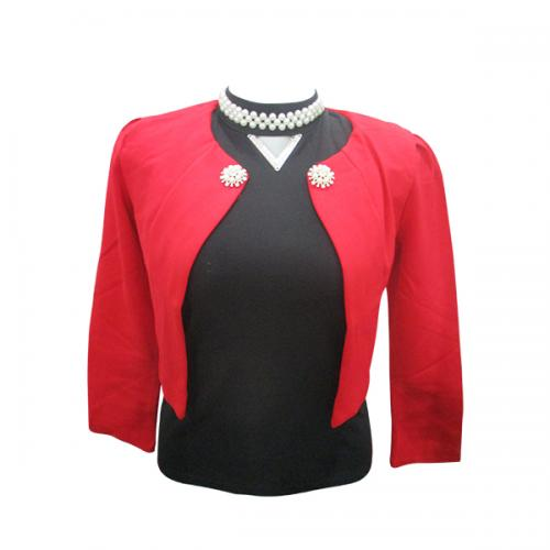 Dark Red Cropped Outer For Ladies - (EL-009)