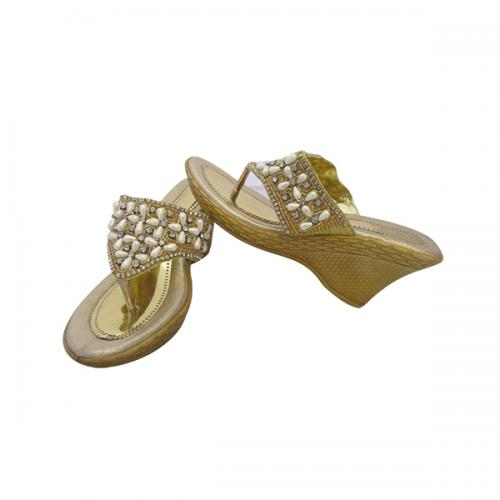 Golden PU Wedge Heel Party Wear Sandal - (MS-001)