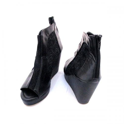 Gorgeous Black Net Wedge Heel With Zip For Ladies - (MS-039)