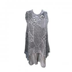 Light Golden Net Sleeveless Top - (EL-011)