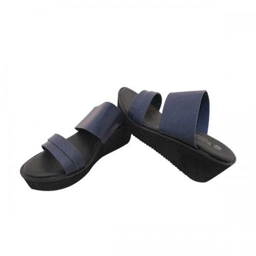 Blue & Black Wedge Heel Casual Sandal for Ladies - (MS-022)