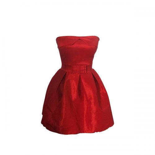 Dark Red Tube Barbie Dress - (EL-010)
