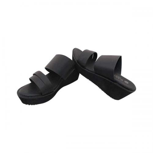 Black Casual Wedge Heel Sandal For Ladies - (MS-020)