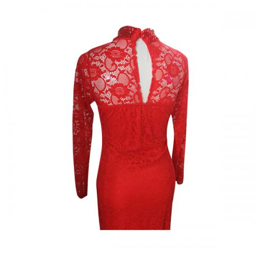 Dark Red Net Full Sleeve Gown - (EL-015)