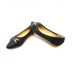 Black Flat & Heel Pointed Toe Ballerinas - (MS-013)