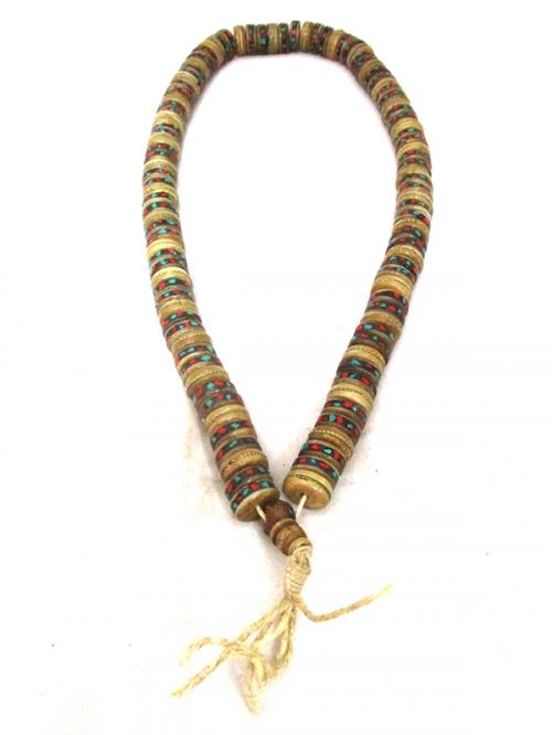 Cut Yak Bone Stone Beads Mala - (NH-044)