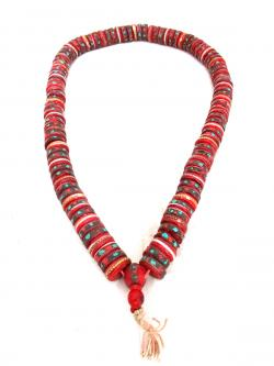 Cut Yak Bone Stone Beads Mala - (NH-045)
