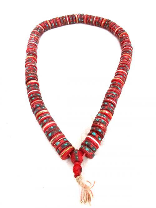 Cut Yak Bone Stone Beads Mala - (NH-045)