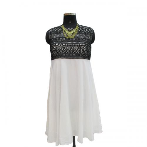 Black & White Chiffon Short Dress - (WM-007)