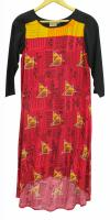 Red & Yellow Printed Cotton Kurti With Black Sleeves - (WM-020)