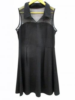 Sleeveless Black One Piece With Collar - (WM-036)