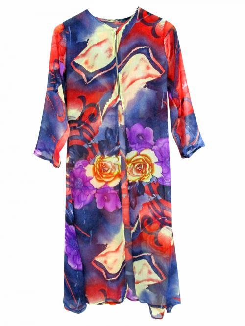 Long Chiffon Floral Dress - (WM-044)