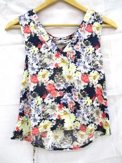 Cotton Sleeveless Floral T-Shirt - (WM-050)