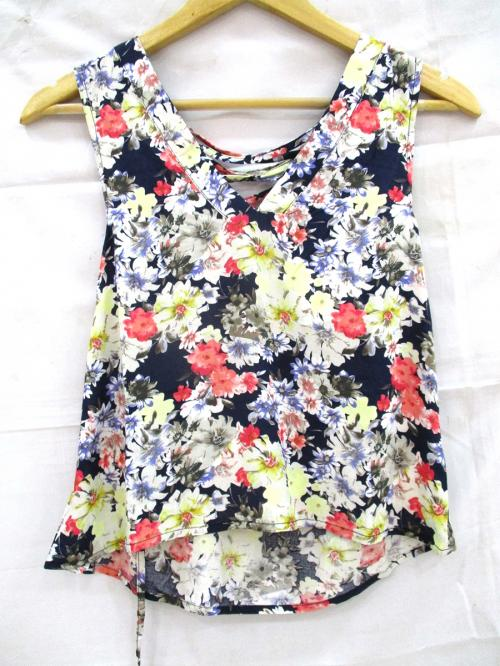 Cotton Sleeveless Floral T-Shirt - (WM-050)