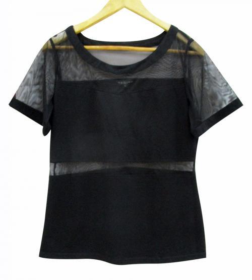 Black Cotton Plus Net T-Shirt - (WM-052)