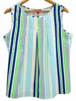 Silk Stripped Sleeveless T-Shirt - (WM-053)