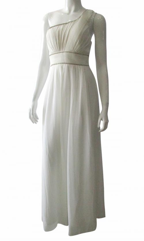 White One Shoulder Chiffon Gown - (TARA-003)