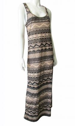 Light Brown Printed Long One Piece - (TARA-007)