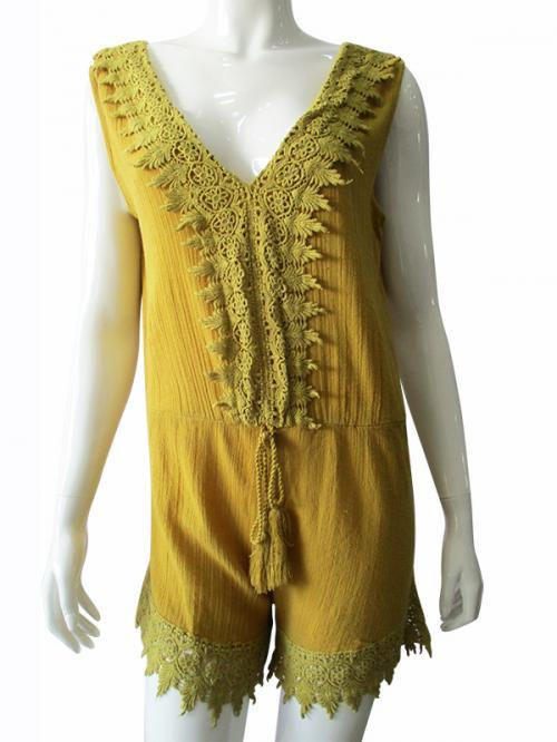 Yellowish Short Jump Suit - (TARA-009)