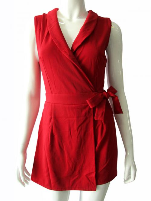 Red Sleeveless Stretchable Dress - (TARA-010)